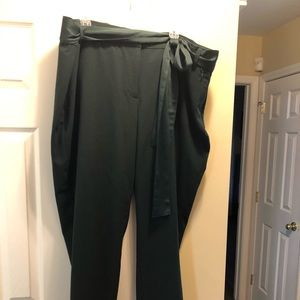 Dark Green Ankle Pants with satin belt